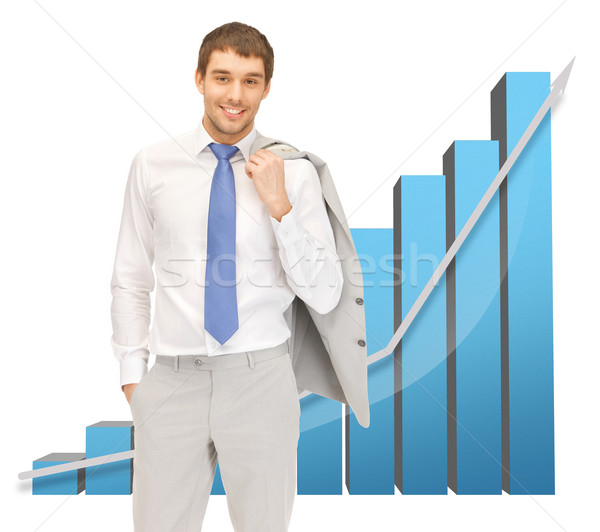 ハンサム ビジネスマン ビッグ 3D グラフ 画像 ストックフォト © dolgachov