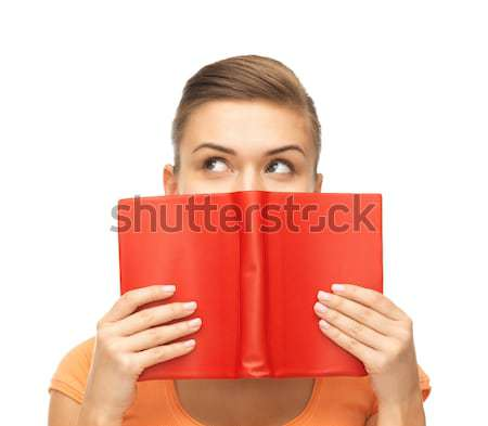 woman eyes and hands holding red book Stock photo © dolgachov
