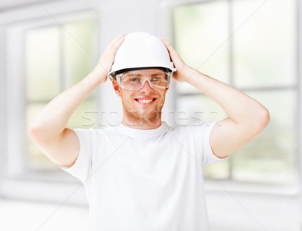 男性 建築 ヘルメット 保護眼鏡 アーキテクチャ 業界 ストックフォト © dolgachov