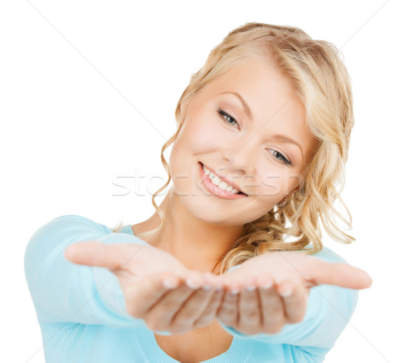 Algo palms anúncio negócio promoção mulher Foto stock © dolgachov