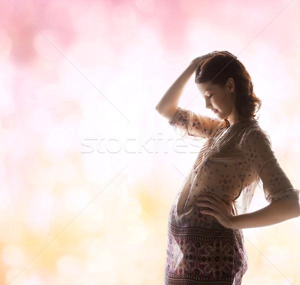 Foto stock: Silhueta · quadro · grávida · bela · mulher · família · maternidade