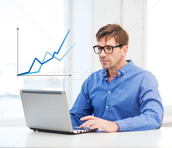 Man werken laptop home technologie economie Stockfoto © dolgachov