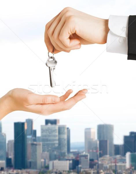 Stock fotó: Közelkép · férfi · nő · ház · kulcsok · ingatlan