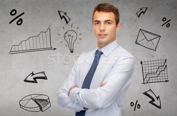 Amistoso jóvenes empresario negocios gente de la oficina trabajador Foto stock © dolgachov