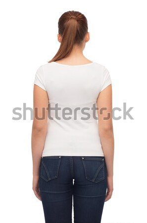 young woman in blank white t-shirt Stock photo © dolgachov