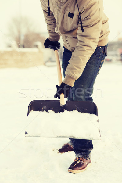 クローズアップ 男 雪 私道 冬 洗浄 ストックフォト © dolgachov