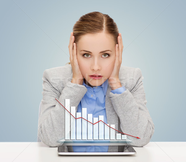 businesswoman with tablet pc and graph Stock photo © dolgachov