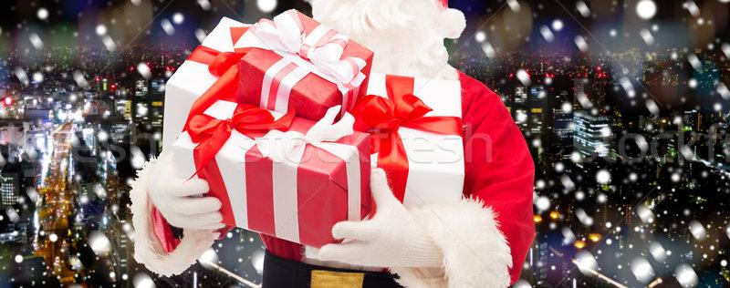 Babbo natale scatola regalo Natale vacanze persone Foto d'archivio © dolgachov