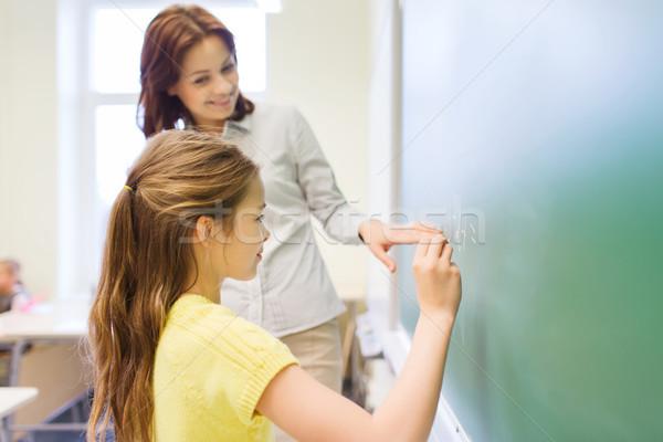 Stockfoto: Weinig · glimlachend · schoolmeisje · schrijven · krijt · boord