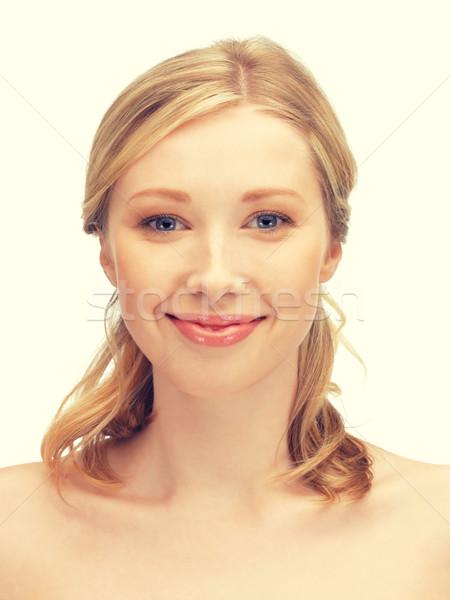 Bela mulher cabelos longos brilhante quadro mulher cara Foto stock © dolgachov