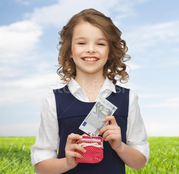 счастливая девушка кошелька бумаги деньги детство Сток-фото © dolgachov