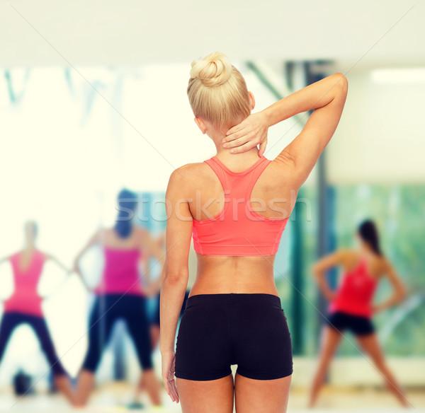 Stockfoto: Vrouw · aanraken · nek · fitness · gezondheidszorg