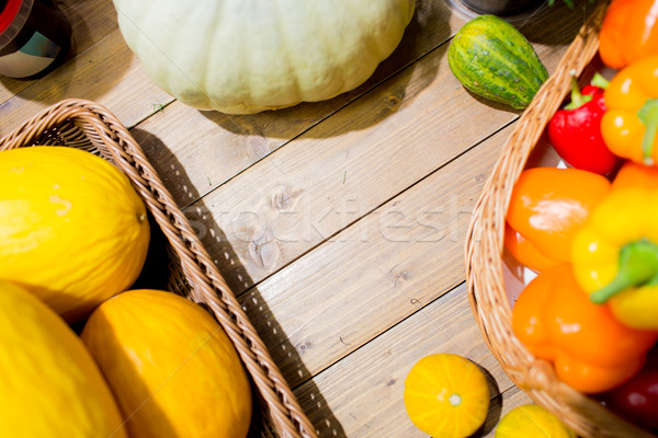 vegetables in baskets on table at market or farm Stock photo © dolgachov