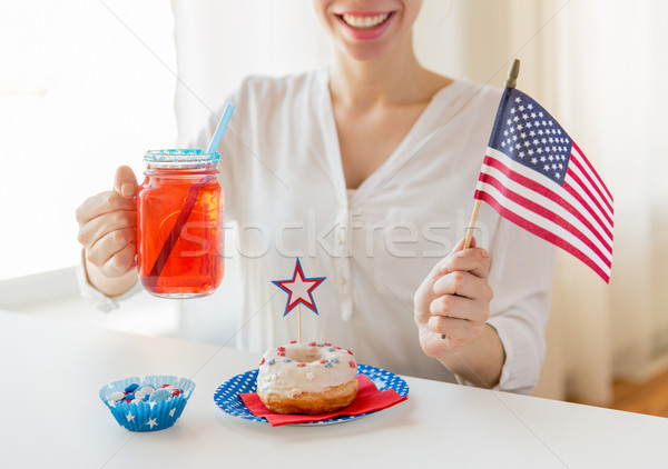 happy woman celebrating american independence day Stock photo © dolgachov