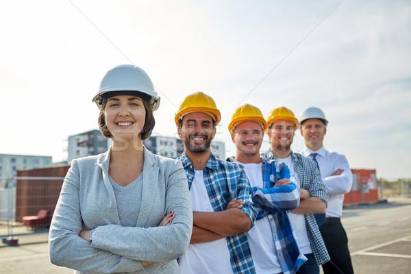 Stock fotó: Boldog · építők · építész · építkezés · üzlet · épület