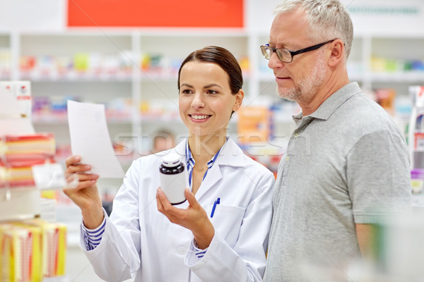 pharmacist and senior man buying drug at pharmacy Stock photo © dolgachov