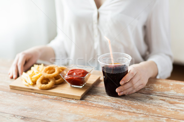 Foto stock: Mulher · lanches · fast-food · pessoas · insalubre · comer