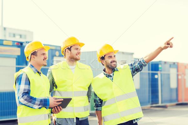 笑みを浮かべて ビルダー ビジネス 建物 チームワーク ストックフォト © dolgachov