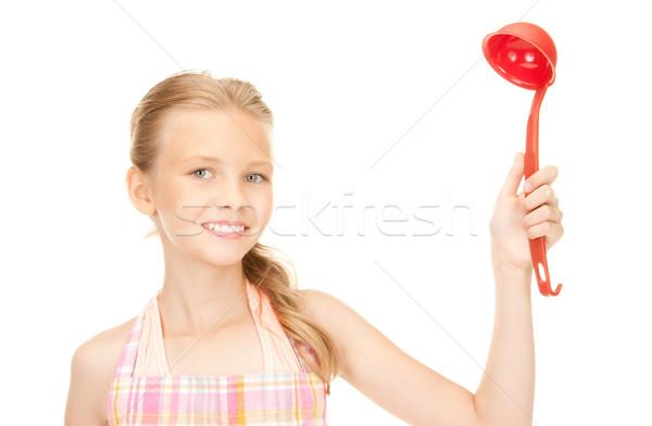 мало домохозяйка красный ковш фотография девушки Сток-фото © dolgachov