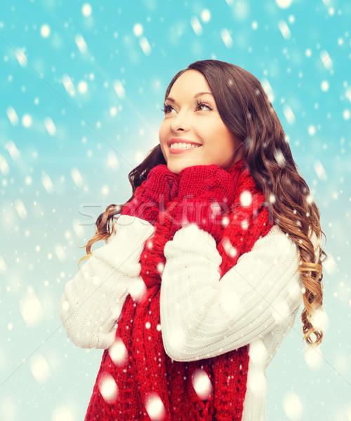 Kadın kazak eşarp eldiveni kış insanlar Stok fotoğraf © dolgachov