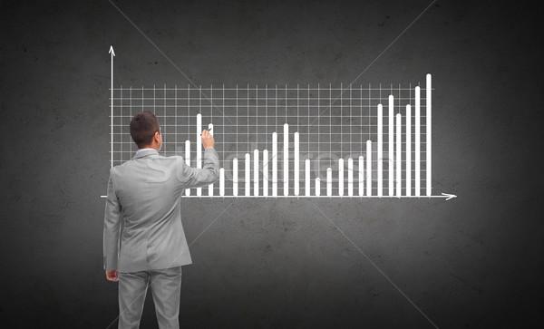 Empresário desenho diagrama traçar de volta pessoas de negócios Foto stock © dolgachov