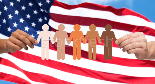 hands with people pictogram over american flag Stock photo © dolgachov