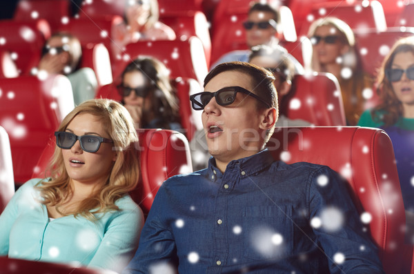 scared friends watching horror movie in 3d theater Stock photo © dolgachov