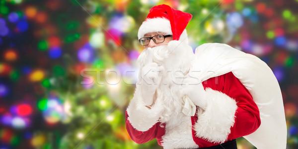 Foto stock: Homem · traje · papai · noel · saco · natal · férias