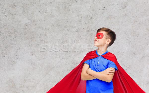 少年 赤 スーパーヒーロー マスク カーニバル 幼年 ストックフォト © dolgachov