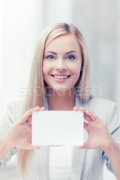 Kadın iş ad kart mutlu kız Stok fotoğraf © dolgachov