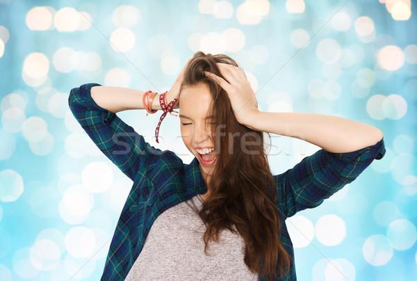 Gelukkig mooie tienermeisje hoofd mensen Stockfoto © dolgachov