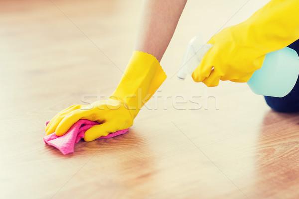 Vrouw vod schoonmaken vloer home Stockfoto © dolgachov