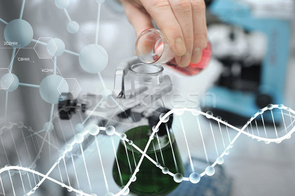 close up of scientist filling test tubes in lab Stock photo © dolgachov