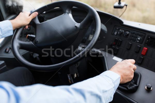 Közelkép sofőr vezetés busz szállítás közlekedés Stock fotó © dolgachov