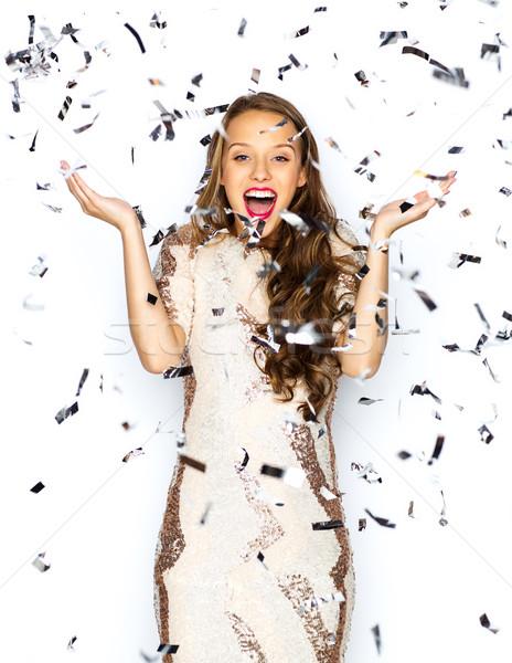 Boldog fiatal nő tinilány jelmez emberek ünnepek Stock fotó © dolgachov