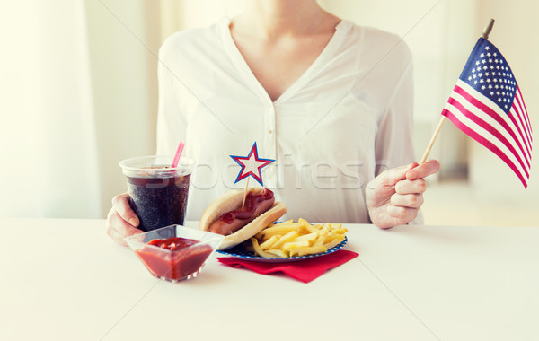 woman celebrating american independence day Stock photo © dolgachov