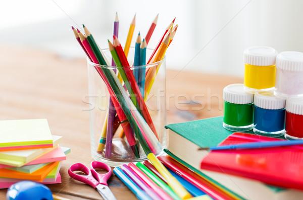 канцтовары школьные принадлежности таблице образование искусства Сток-фото © dolgachov