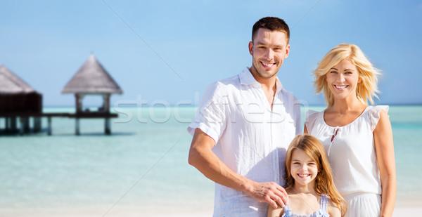 Mutlu aile tropikal plaj bungalov yaz tatil seyahat Stok fotoğraf © dolgachov