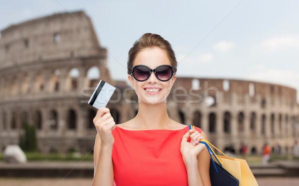 ストックフォト: 女性 · ショッピングバッグ · クレジットカード · ローマ · 人 · 休日