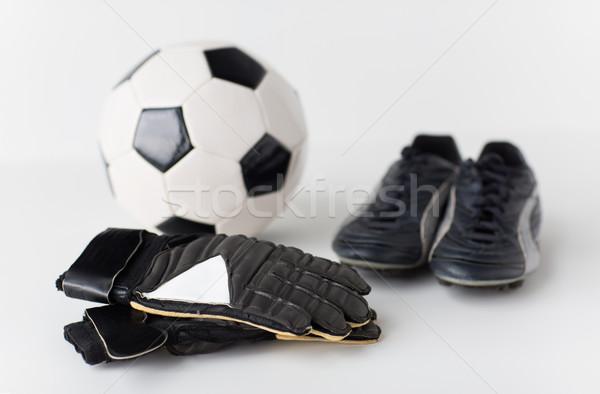 Torhüter Handschuhe Ball Fußball Stiefel Stock foto © dolgachov