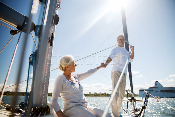 Gelukkig zeil boot jacht zee Stockfoto © dolgachov