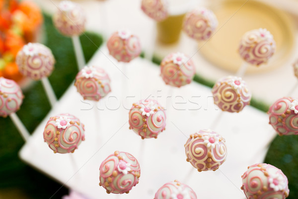 Stock photo: close up of cake pops or lollipops