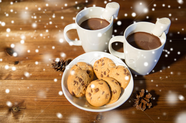 cups of hot chocolate with marshmallow and cookies Stock photo © dolgachov