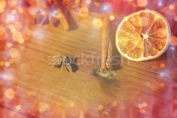 シナモン アニス オレンジ 木板 クリスマス ストックフォト © dolgachov