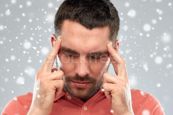 человека страдание голову боль мышления снега Сток-фото © dolgachov