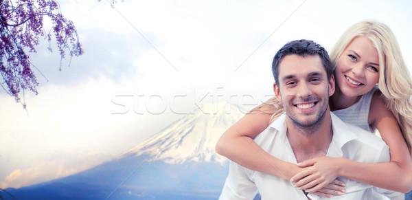 Casal fuji montanha férias viajar Foto stock © dolgachov