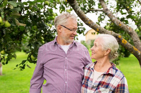 Feliz pareja de ancianos verano jardín Foto stock © dolgachov