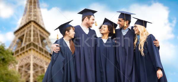 Boldog diákok agglegények Eiffel torony oktatás Stock fotó © dolgachov