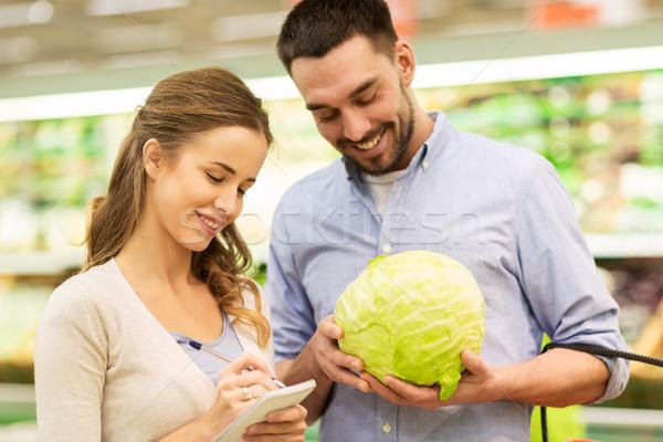 Stok fotoğraf: çift · defter · lahana · bakkal · alışveriş · gıda