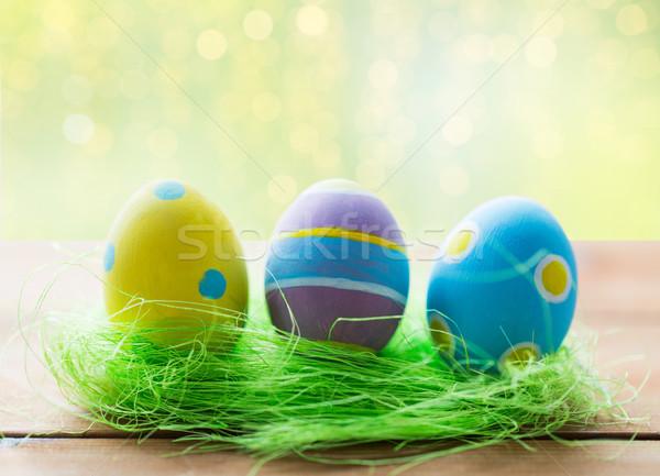 пасхальных яиц трава праздников традиция Сток-фото © dolgachov
